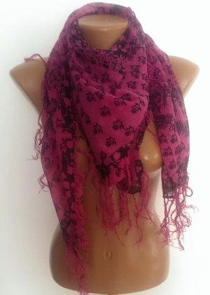 Pink-schwarzes Tuch mit Blumenprint