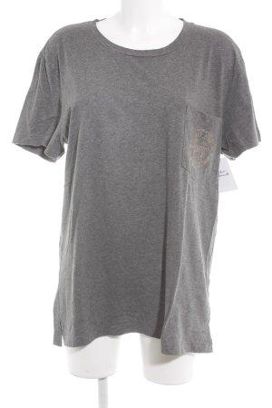 Pink T-Shirt grau Schriftzug gedruckt Casual-Look