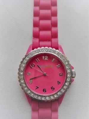 Pink Uhr aus Gummi   NEUWErTIG   mit Strasslynette Modeschmuck