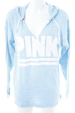 Pink Victoria's Secret Kapuzensweatshirt hellblau-weiß meliert