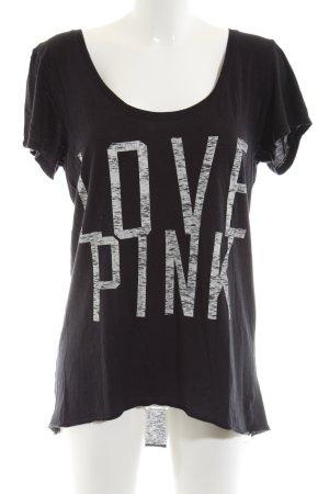 Pink Victoria's Secret Oversized Shirt schwarz-weiß Schriftzug gedruckt