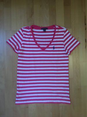 Pink/weiß gestreiftes Kurzarmshirt