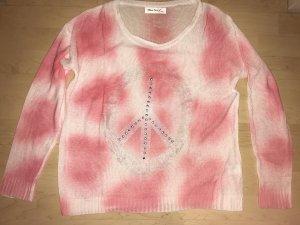"""Pink-weißer Pulli mit """"Peace""""-Symbol"""