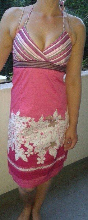 Pink weißes Neckholderkleid Vero Moda xs 34