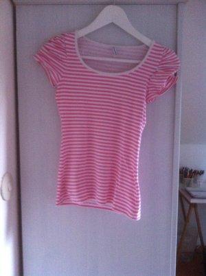 Pink- weißes Ringelshirt mit gerafften Schultern von Fishbone