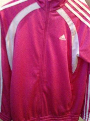 Pinke Adidasjacke  mit weißem Adidas Zeichen