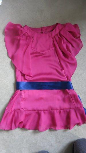 Pinke Bluse (Tunika, Shirt) mit Rüschen / Volant von Mango, wie neu