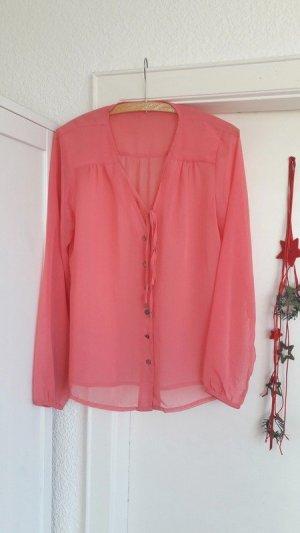 Pinke Bluse Tunika transparent Schleife Vero Moda