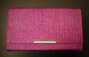pinke Clutch aus Papierstroh