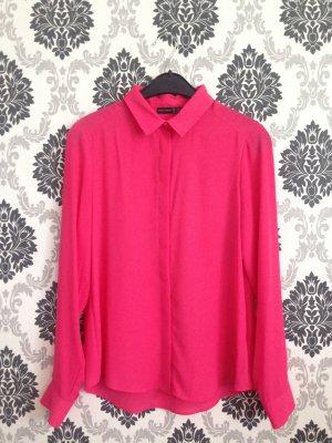 Pinke Hemd-Bluse mit Kragen