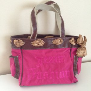 Shopper magenta-black brown nylon