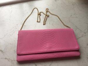 Pinke Kunstlederclutch mit abnehmbarem Kettenriemen, NEUWERTiG