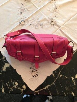 Handbag neon pink-magenta leather