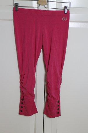 Pinke Leggings mit Raffung und Knöpfen