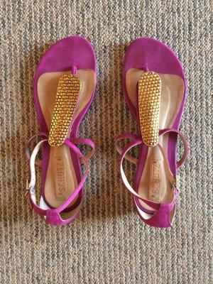 Sandalo toe-post rosa-sabbia Pelle