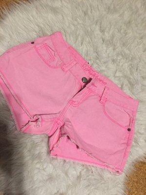 Fishbone Pantalón corto de tela vaquera rosa neón