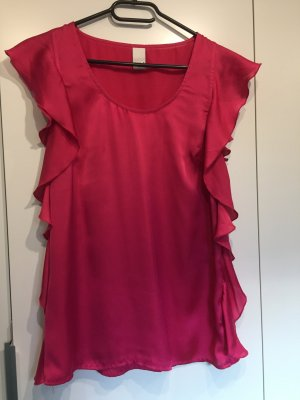 Pinke Volant-Bluse