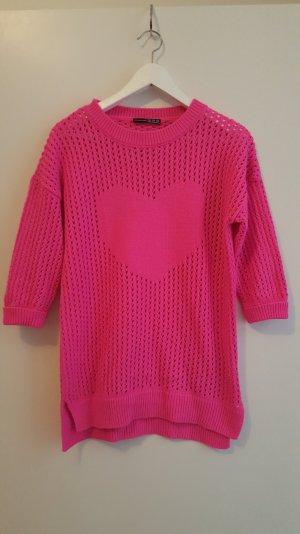 Pinker grob Strickpullover mit Herz