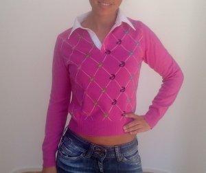 Pinker Pullover mit Kragen, Benetton, Größe S