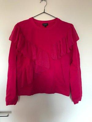 Pinker Pullover mit Rüschen