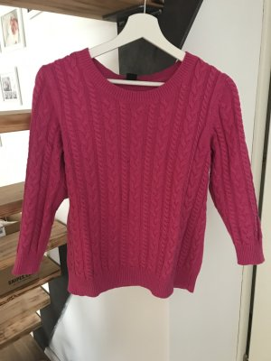 H&M Cable Sweater magenta-raspberry-red cotton