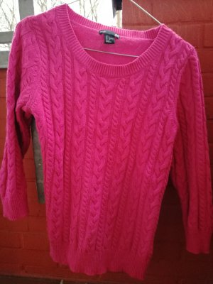 H&M Cable Sweater neon red-violet