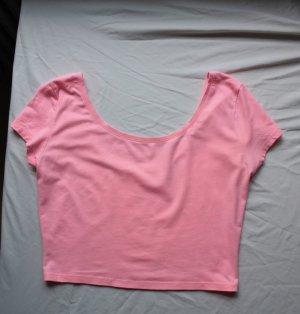 Pinkes Crop Top mit weitem Rückenausschnitt