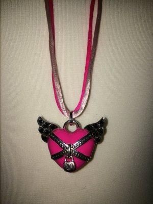 Pinkes Herz mit Flügeln und Schloss