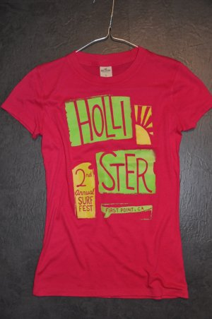 Pinkes Hollister T-Shirt mit Grafik, Gr. S