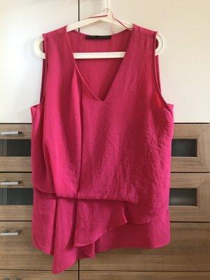 Pinkes (magenta) Oberteil von Zara aus fließendem Stoff Größe M