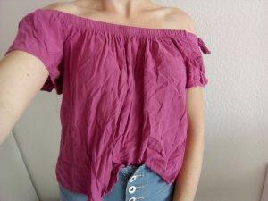 Pinkes/magenta schulterfreies Shirt