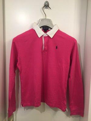 Pinkes Poloshirt von Ralph Lauren mit weißem Kragen