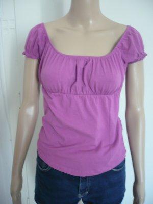 Pinkes Rundhalsshirt von Zara mit Ruschenärmeln / Carmen - Stil