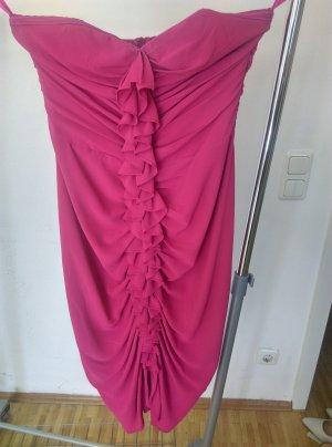 Pinkes Schulterfreies Kleid mit Raffungen vorne