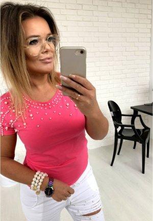 Pinkes Shirt mit Perlen bestickt Top T-Shirt Blogger Tunika Bluse mega HOT passt bei S-M