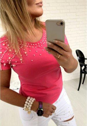 Pinkes Shirt mit Perlen bestickt Top T-Shirt Blogger Tunika Bluse mega HOT passt bei S-L