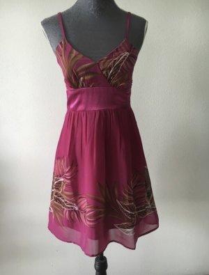 Pinkes Sommerkleid mit Blumenmuster, Größe S
