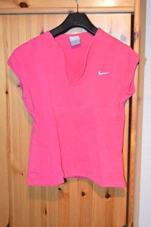 pinkes Sportshirt mit V-Ausschnitt