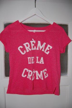 """Pinkes T-Shirt mit """"creme de la creme"""" Aufdruck"""