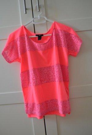 Pinkes T-Shirt mit Spitze von H&M in XS