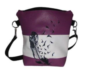 pinkeSterne ☆ Handtasche Umhängetasche Schultertasche Kunstleder Bestickt Stickerei Handmade Lila Weiß Feder / WL-ENC3-TUFY