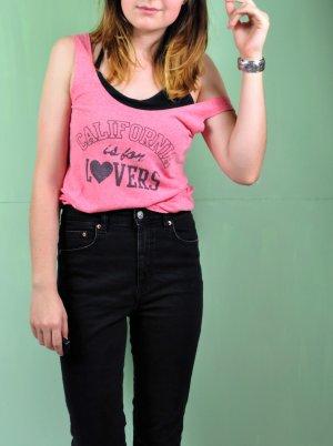 Pinkfarben Meliertes Top mit Schriftzug