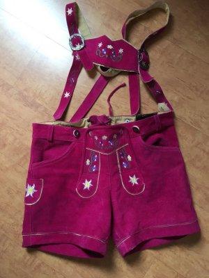 pinkfarbene Wildleder Trachtenhose