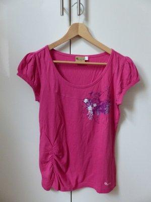 pinkfarbenes T-Shirt mit Blumendekor