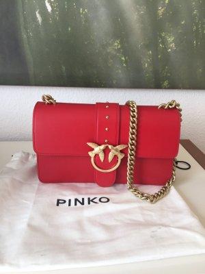 Pinko Bolsa de hombro rojo ladrillo-color oro Cuero