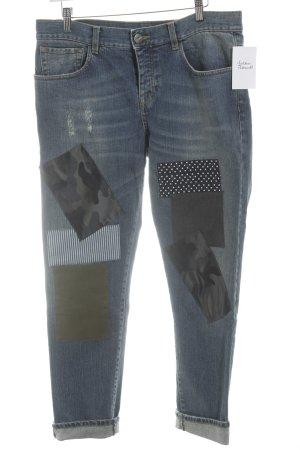 Pinko 7/8 Jeans stahlblau Materialmix-Look