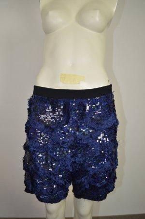 Pinko, Edle Shorts mit Pailletten und Fädchen Blau Schwarz Gr. 36