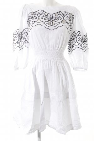 Pinko Langarmkleid weiß-schwarz Blumenmuster Romantik-Look