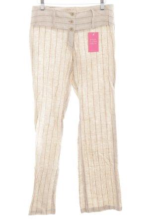 Pinko Leinenhose braun-creme Streifenmuster Business-Look