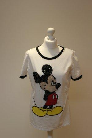 Pinko Shirt mit aufwändiger Paillettenstickerei und schwarzer Paspellierung
